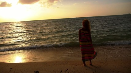 Free Woman Enjoying Freedom Feeling at Beach at Sunset. Slow
