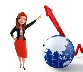 Young Corporate lady with globe