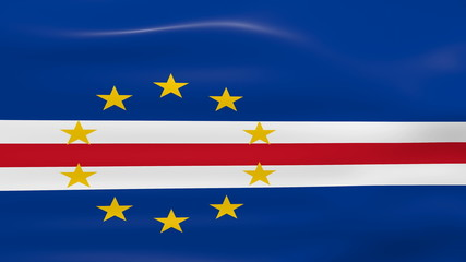 Waving Cape Verde Flag, ready for seamless loop.
