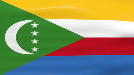 Waving Comoros Flag, ready for seamless loop.