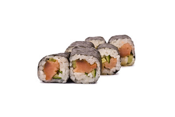 Sushi Rolls with Salmon and Cucumber isolated on white