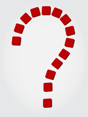 question sign of red flat blocks