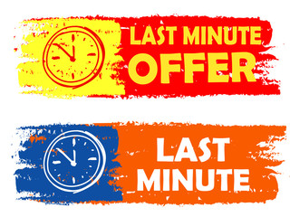 last minute offer with clock sign, drawn labels
