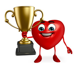 Heart Shape character with trophy