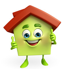 House character with thumbs up sign