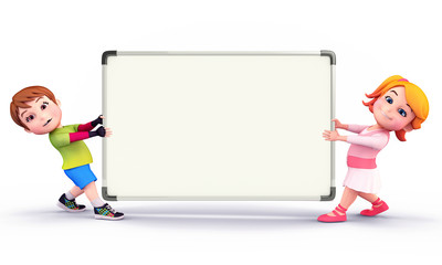 Cute kids with display board
