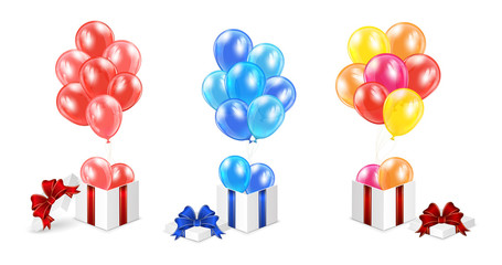 Presents with balloons