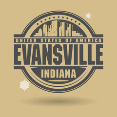 Stamp or label with text Evansville, Indiana inside