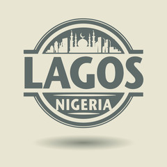 Stamp or label with text Lagos, Nigeria inside