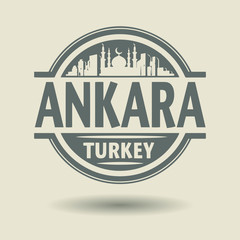 Stamp or label with text Ankara, Turkey inside, vector