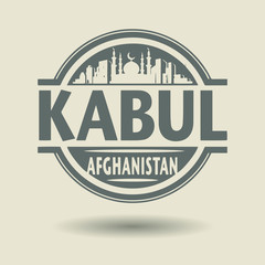 Stamp or label with text Kabul, Afghanistan inside