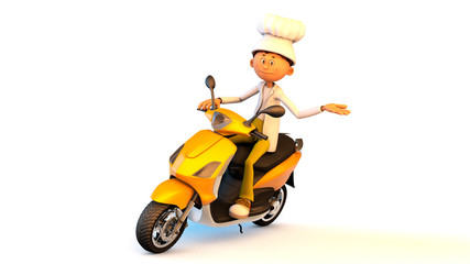 The cook on a motorcycle