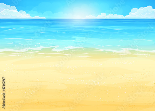 Fototapeta Illustration background with ocean and beach