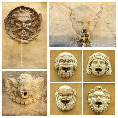 antique street drink water source collection,Tuscany