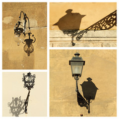 antique street lamps collage, images from Tuscany