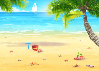 Illustration of the sea shore with palm trees, shells, bucket