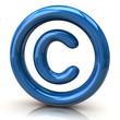 Blue copyright icon