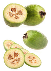 Feijoa (Acca sellowiana) isolated on white background