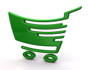 Green shopping cart
