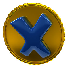 Blue tick sign on golden coin