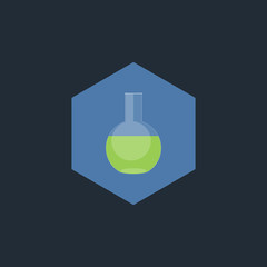 chemical test tubes vector, flat icon