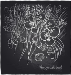 Chalkboard vegetables background.