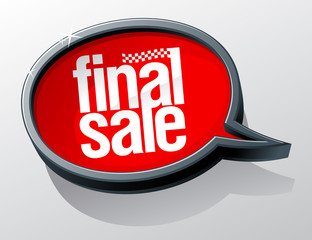 Final sale bubble.
