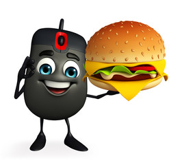 Computer Mouse Character with burger