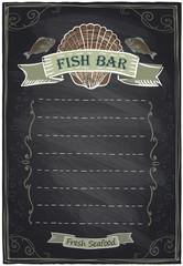 Chalkboard seafood menu.