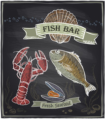 Chalkboard fish bar.