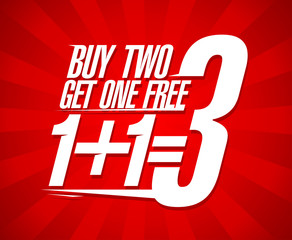 Buy two get one free sale design.