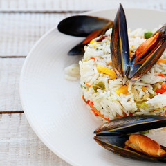rice side dish with mussels