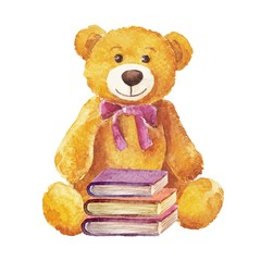 Teddy bear sitting with books. watercolor