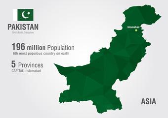 Pakistan World Map with a pixel diamond texture.