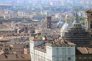 Aerial view of Turin center Piedmont Italy