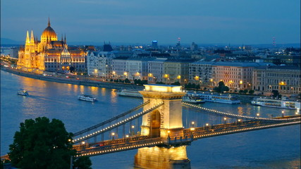 Budapest, Hungary. Chain Bridge and the Parliament. Time lapse