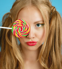 pretty girl with lolipop