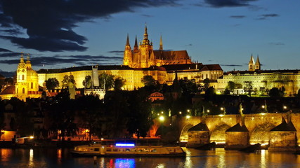 Prague Castle after sunset. Timelapse