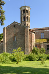 church transept and bell tower. Abbadia Cerreto