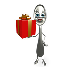 Spoon character with gift box