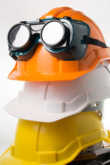 Safety hat and goggles glasses isolated