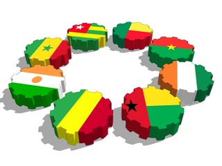uemoa members flags on gears