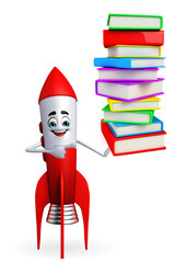 Rocket character with pile of books