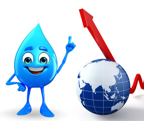 Water Drop Character with Arrow