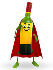 Super Wine Bottle Character with Salute pose