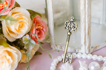 Antique key and decorative objects