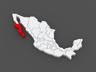 Map of Baja California. Mexico.