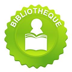 bibliothèque sur bouton web denté vert