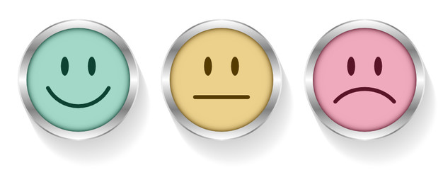 3 Smileys Faces Emotion Retro Silver