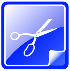 blue scissors icon